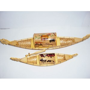 Lot of 2 Hand carved Small Bamboo Tray Boat art model -Vietnam traditional Ship