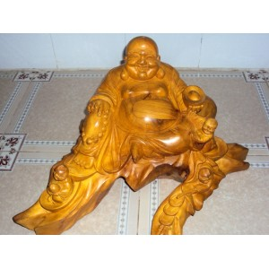 New Hand Carved Wood Art Buddha Statue -Sculpture Buddha -Vietnam Carving-12 inch - N3