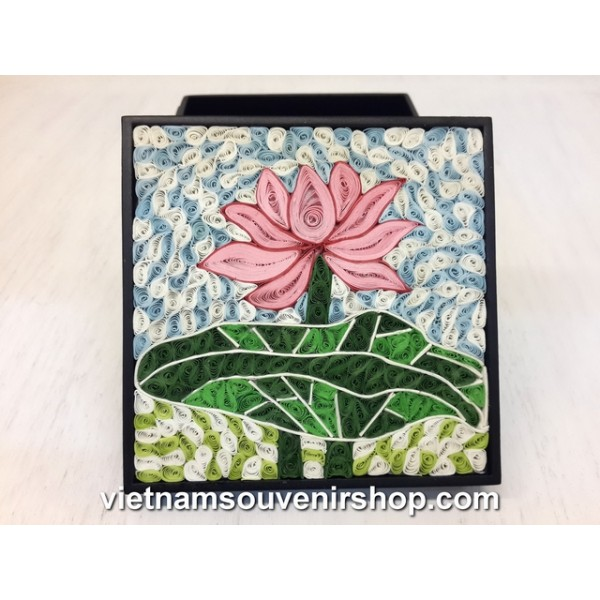 Hanmade Vietnam Jewelry Box With Handcrafted Quilling Lotus Flower