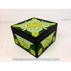 Hanmade Vietnam Jewelry box with Handcrafted Quilling - Green Flowers pattern