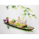 Vietnam Handmade needlepoint Embroidery Picture -Girl on flower boat