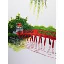Vietnam Handmade needlepoint Embroidery Picture -The Huc Bridge landscape-Ha Noi