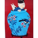 Vietnam Lacquer Art Paiting/ Plate picture-TinTin AU in the Chum with Bird
