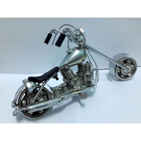 Hand Carved Metal Art Model Motorcycle Harley Davidson