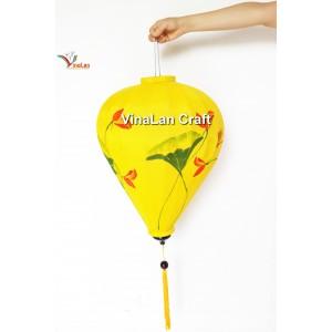 1 Handmade Hand Painted Vietnam Silk Lanterns - Yellow Lotus Pattern