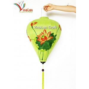 1 Handmade Hand Painted Vietnam Silk Lanterns - Green Lotus Pattern