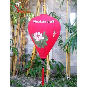 Handmade Hand Painted Vietnam Silk Lanterns - Large Size 26'' - Red Lotus Pattern - Lotus flower