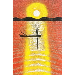Handmade Art Lacquer -Eggshell Inlaid - Dawn on the sea - Lacquered picture