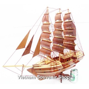 Handmade  Wooden Model Ship 28''- SAIL BOAT - Desk Decoration