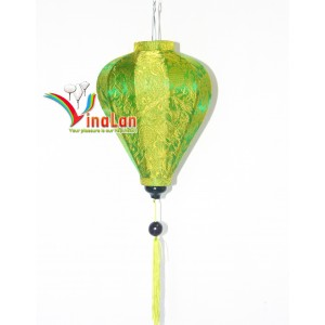 Set 4pcs Hoi an silk  lanterns 35cm for Wedding Decoration (Garlic lanterns)- wholesale silk lanterns - Green