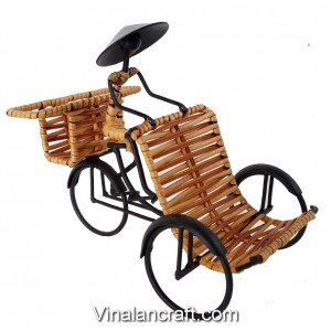 Handmade Tricycle Pedicab Model - Contain Stationery for Desk Decor