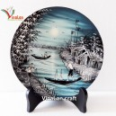 Vietnamese Lacquer Dish with Countryside landscape, Wall hanging, Desk decoration