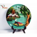 Vietnamese Lacquer Dish with Countryside landscape, Wall hanging, Desk decoration N3
