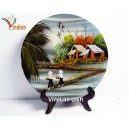 Vietnam Art Lacquer Dish, Countryside landscape, Wall hanging, Desk decoration