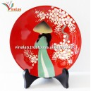 Vietnam Art Lacquer Dish, Countryside landscape, Wall hanging, Desk decoration N10