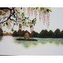 Vietnamese Handmade needlepoint Embroidery Picture -Hoan Kiem Lake-Handmade Gift