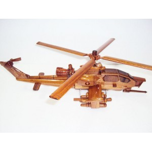 Hand Carved Wood Art Model Apache AH-1 Cobra Helicopter - Handmade Desk Decor
