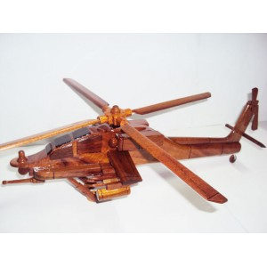 Hand Carved Wood Art Model Apache AH-64 Helicopter -Shelf Desk Decor