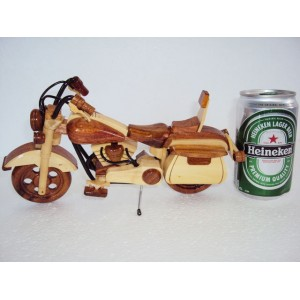Mini Hand Carved Wood Art Model Motorcycle HARLEY DAVIDSON -Handmade wooden