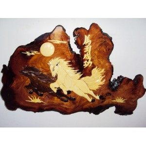 Hand carved Mosaic Wood Picture-2 Running Horses 2-Sign wall plaque-Intarsia Art