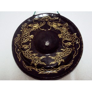 Handmade Mini Brass Gong -Sculpture Pattern of Dragon