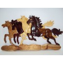 New Hand Carved Wood Art Intarsia 4 Running Horses Wood sign Wall Plaque Decor