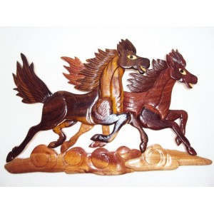 New Hand Carved Wood Art Intarsia 2 Running Horses Wood sign Wall Plaque Decor