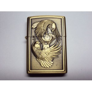 Hand Carved Vietnam Lighter -Couple Eagle Fly - very nice - Handmade lighter